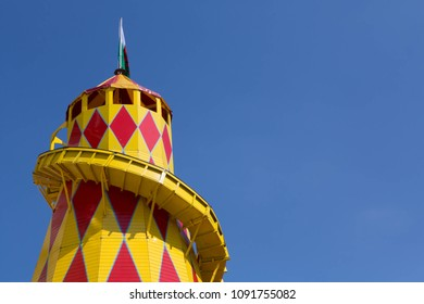 LLANDUDNO, WALES, MAY 6 2018. Traditional helter skelter slide at a fairground  in Llandudno, United Kingdom.