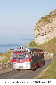 LLANDUDNO WALES, MAY 6 2018. 1955 Leyland Tiger Cub coach on a vintage bus tour around The Great Orme