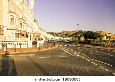 """Llandudno, Wales- September 3,2018: A morning picture of Llandudno town during autumn season."""