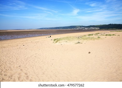 Llanelli Beach on the Loughor Estuary, Carmarthenshire, Wales, UK is a popular Welsh tourist coastline resort