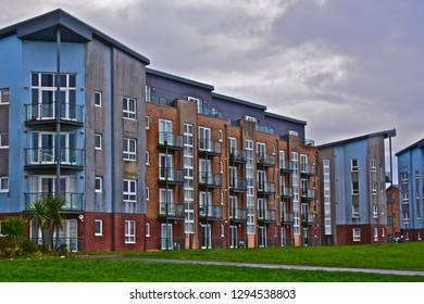 Llanelli, Carmarthenshire / Wales UK - 1/19/2019: A block of modern flats built on a regeneration site at North Dock, Llanelli. With balconies overlook the sea.
