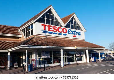 Llanelli, UK: January 25, 2016: Front view of a Tesco Extra Superstore in Wales. Tesco PLC is a British multinational grocery and general merchandise retailer and is one of the biggest in Britain.