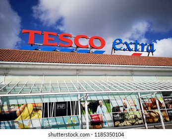 Llanelli, UK: September 21, 2018: Front view of a Tesco Extra superstore. Tesco is a British multinational groceries and general merchandise retailer. It is the third-largest retailer in the world.