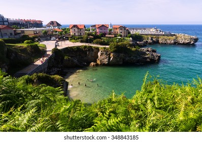 LLANES, SPAIN - JULY 3, 2015:  View of  ocean coast at Llanes.  Asturias, Spain