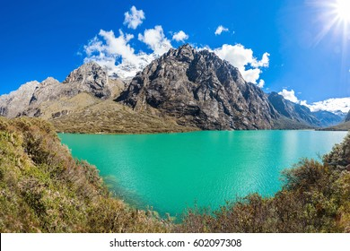 The Llanganuco Lakes: Chinanqucha and Urqunqucha are situated in the Cordillera Blanca in the Andes of Peru.
