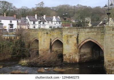 Llangollen, Denbighshire, Wales, UK. January 25, 2019.The historical arched bridge across the River Dee.