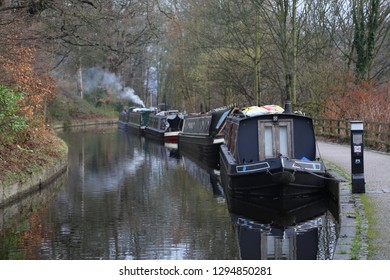 Llangollen, Denbighshire, Wales, UK. January 25, 2019. Barges in Winter moorings along the Canal.