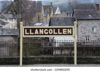 Llangollen, Denbighshire, Wales, UK. January 25, 2019. The town sign at the Railway Station.