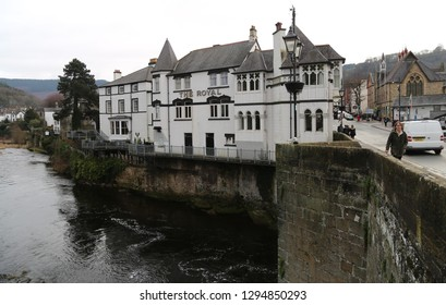 Llangollen, Denbighshire, Wales, UK. January 25, 2019. The Royal Hotel situated beside the River Dee.