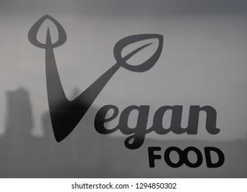 Llangollen, Denbighshire, Wales, UK. January 25, 2019. A Vegan Food sign above a business.