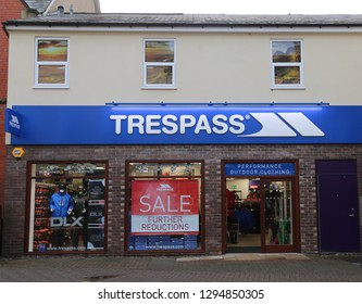 Llangollen, Denbighshire, Wales, UK. January 25, 2019.  Trespass Outdoor Store Sign.