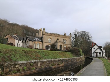 Llangollen, Denbighshire, Wales, UK. January 25, 2019. Houses with different architecture beside the canal.
