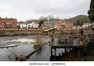 Llangollen, Denbighshire, Wales, UK. January 25, 2019. A view of the town across the River Dee.