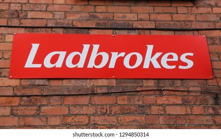 Llangollen, Denbighshire, Wales, UK. January 25, 2019.  A Ladbrokes betting   company sign.