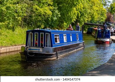 Llangollen, Dengighshire Wales, May 14, 2019 Narrow boats on the Llangollen Canal