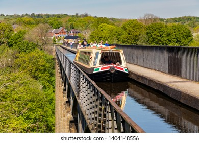 Llangollen, Dengighshire Wales, May 14, 2019 Narrow boats on the Llangollen Canal as it crosses the Pontcysyllte aquaduct, a world heritage site