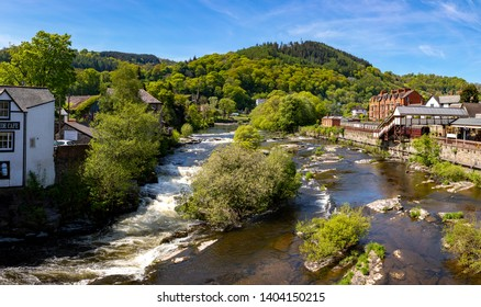 Llangollen Dengighshire Wales May 14, 2019 Small falls on the river Dee as it flows through the town of Llangollen