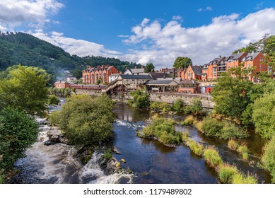 Llangollen town along the river dee in north Wales, UK