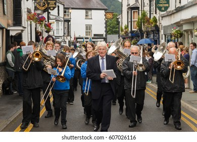 Llangollen UK - July 3 2012: Local silver band leading the parade at the annual International Eisteddfod in Llangollen Wales a music festival of traditional folk music and dancing
