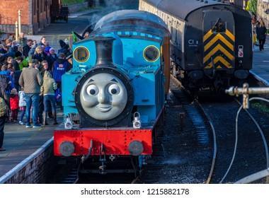LLANGOLLEN, UK - OCTOBER 27TH 2018: Thomas the Tank Engine on display at the Llangollen railway