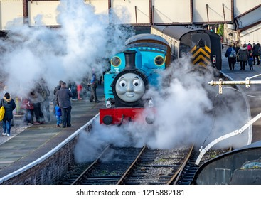 LLANGOLLEN, UK - OCTOBER 27TH 2018: Thomas the Tank Engine on display at the Llangollen railway blowing steam