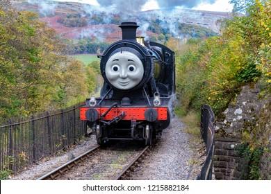 LLANGOLLEN, UK - OCTOBER 27TH 2018: Donald/Douglas steam train part of Thomas the Tank Engine display at the Llangollen railway