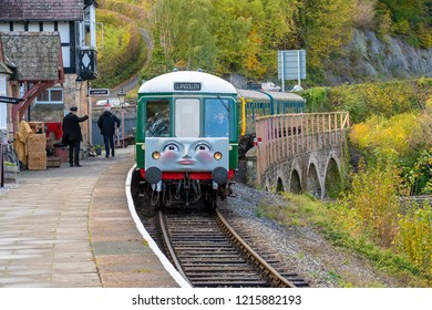 LLANGOLLEN, UK - OCTOBER 27TH 2018: Daisy the diesel train part of the Thomas the Tank Engine display at the Llangollen railway