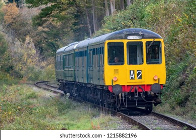 LLANGOLLEN, UK - OCTOBER 27TH 2018: Diesel heritage train  at the Llangollen railway