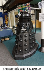 Llangollen United Kingdom - July 23 2017: Full size Dalek display from the British TV series Doctor Who a adversary of the main hero of the programmes seen at a local comic and cosplay convention