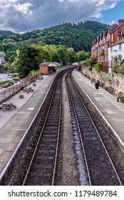 LLANGOLLEN, UNITED KINGDOM - SEPTEMBER 04: View of Llangollen railway station, a traditional old railway station in North Wales on September 04, 2018 in Llangollen