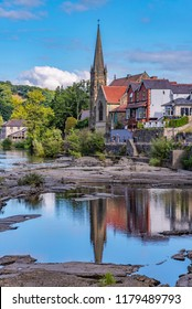 LLANGOLLEN, UNITED KINGDOM - SEPTEMBER 04: View of Llangollen town, a small historic town along the river dee in North Wales on September 04, 2018 in Llangollen