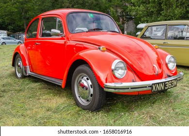Llangollen Wales UK - July 1 2017: Volkswagen Type 1 or Beetle a classic German  economy car built from 1938 to 2003 at a vintage vehicle rally