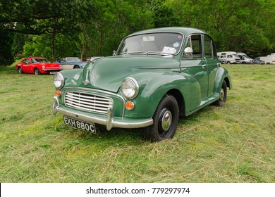 Llangollen Wales UK - July 1 2017: Morris Minor 1000 a classic British four door saloon car built from 1948 to 1972 affectionately nicknamed the Moggie or Morrie at a vintage vehicle rally