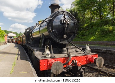 Llangollen Wales UK - May 22 2018: Locomotive GWR 3802 after a major refurbishment it was built in 1938 and is now preserved at the volunteer run Llangollen heritage steam railway in North Wales