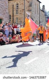 Llangollen, Wales, United Kingdom - July 5, 2019: Southern Shaolin Kungfu performance during the Llangollen Eisteddfod in Wales, United Kingdom
