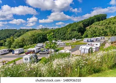 Llanidloes, Wales, UK – July 04 2019. Red Kite Campsite, Llanidloes, Wales. A campsite for touring caravans, motorhome and campervans exploring mid-Wales, UK