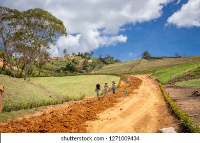 Llano Grande, Antioquia / Colombia November 15, 2018 Workers in a road construction.