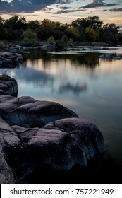 Llano River at twilight in the hill country of Texas.