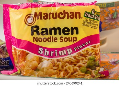 LLANO, TEXAS-DEC 30, 2014:  Bag of Shrimp Flavor Maruchan Ramen Noodle Soup with Orental Dishes.