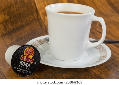 LLANO, TEXAS-FEB 28, 2015:  This Cafe Ole Kona Blend in Keurig K-cup by HEB Grocery Stores is an acceptable substitute for the popular Kona Roast.