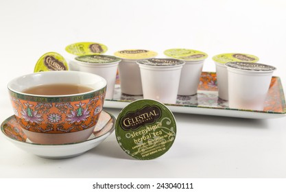 LLANO, TEXAS-Jan 10, 2015:   Assortment of Green Mountain Teas in colorful Chinese Pattern Dishes.  Keurig Individual K-cup single servings.