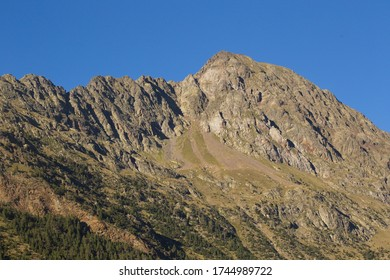 Llanos del hospital, Huesca/Spain; Aug. 21, 2017. Place called Llanos del Hospital in Benasque in the heart of the Pyrenees. In the image the Tuca Salbaguardia peak (2738 m).