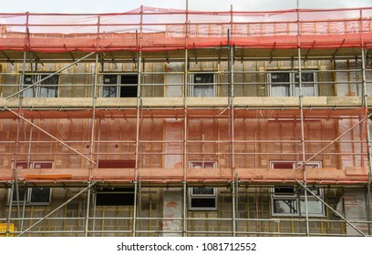 LLANTRISANT, WALES - MAY 2018: Close up view of new social housing flats being built