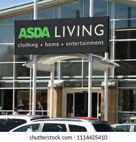 LLANTRISANT, WALES - MAY 2018: Close up view of a large sign above the entrance to an ASDA Living store on an out of town retail park