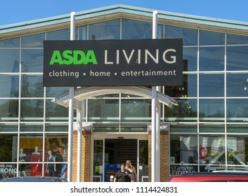 LLANTRISANT, WALES - MAY 2018: Large sign above the entrance to an ASDA Living store on an out of town retail park