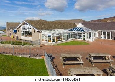 Llantysilio UK - March 20 2019: The Ponderosa Cafe and gift shop on Horseshoe Pass above Llangollen a popular diner stop for motorcyclists and travellers on the A542 route in North Wales