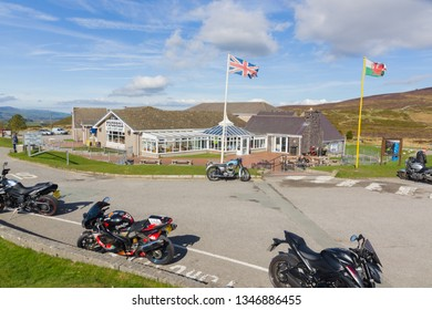 Llantysilio UK - March 20 2019: The Ponderosa Cafe and gift shop on Horseshoe Pass above Llangollen a popular diner stop for bikers and travellers on the A542 route in North Wales