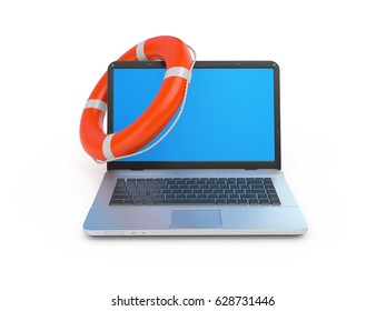 Llaptop and a lifebuoy ower white. Online help concept 3d illustration.