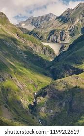 Llauset dam in Aragon. Hydroelectric energy power. Trekking route. Spain