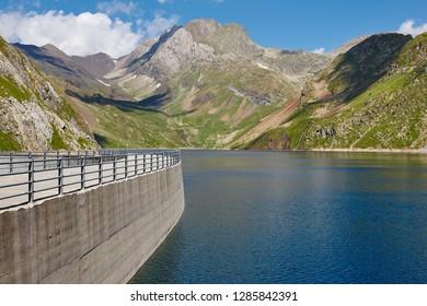 Llauset lake in Aragon. Hydroelectric energy power. Trekking route. Spain